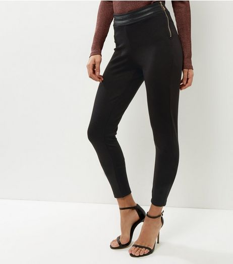 QED Black Side Zip High Waisted Trousers  | New Look