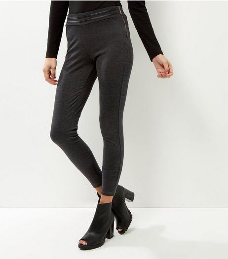 QED Dark Grey Side Zip High Waisted Trousers | New Look