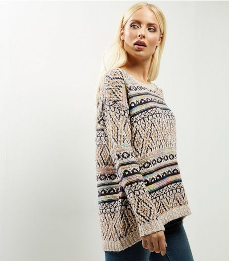 QED Cream Aztec Print Jumper  | New Look
