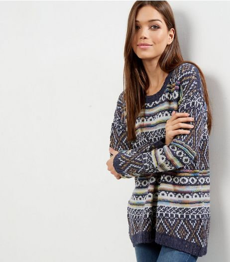 QED Blue Aztec Print Jumper  | New Look