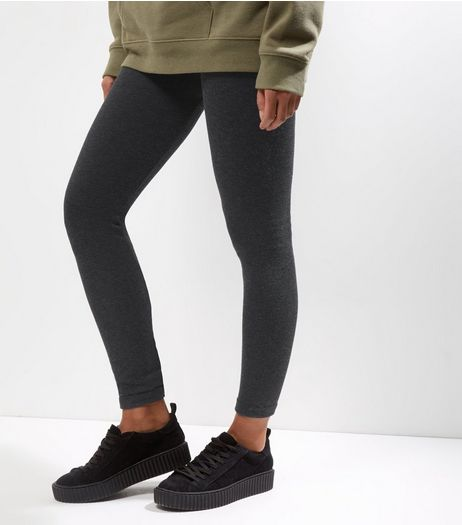 QED Dark Grey Fleece Lined Leggings  | New Look