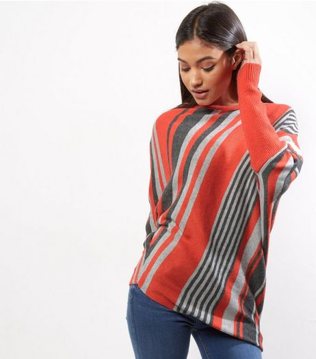 QED Red Stripe Asymmetric Hem Long Sleeve Jumper  | New Look