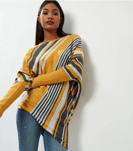 QED Yellow Stripe Asymmetric Hem Long Sleeve Jumper | New Look