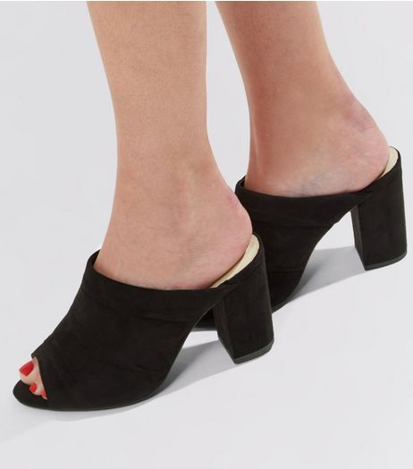 Wide Fit Black Comfort Suedette Ruched Heeled Mules | New Look