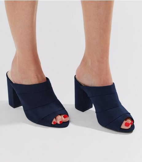 Wide Fit Navy Comfort Suedette Ruched Heeled Mules | New Look
