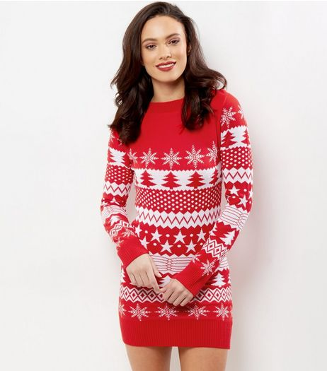 Mela Red Christmas Tree Print Dress  | New Look
