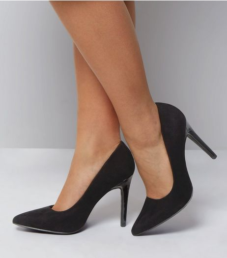 Wide Fit Black Suedette Contrast Heel Court Shoes | New Look