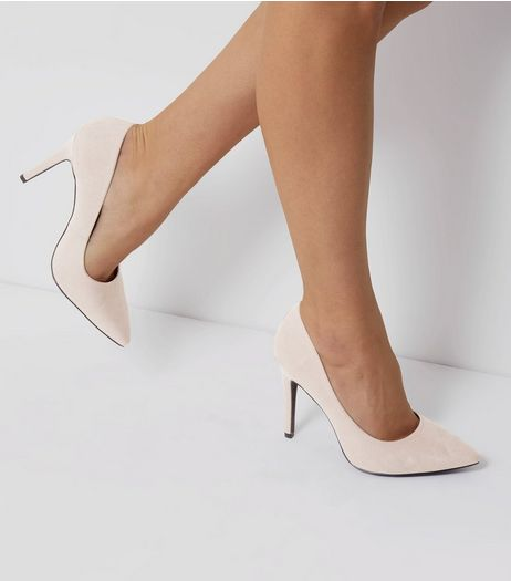 Wide Fit Grey Suedette Pointed Court Shoes | New Look