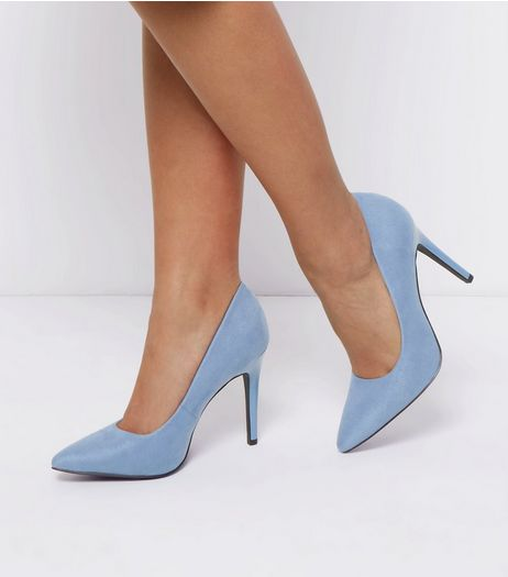Wide Fit Blue Suedette Pointed Court Shoes | New Look