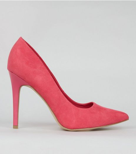 Wide Fit Pink Suedette Pointed Court Shoes | New Look