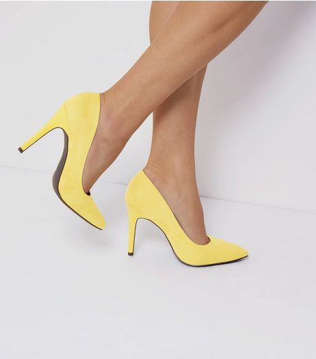 Wide Fit Yellow Suedette Pointed Court Shoes | New Look