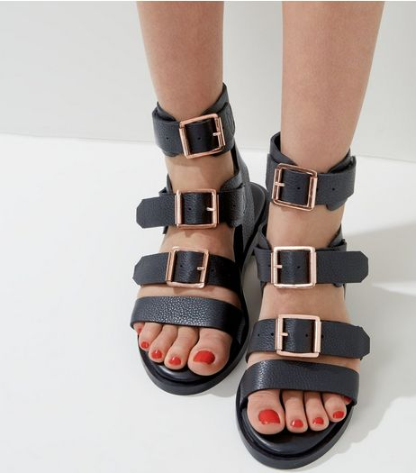 Black Leather Triple Buckle Strap Sandals | New Look