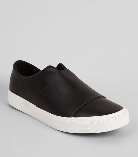Black Split Front Slip-On Trainers | New Look