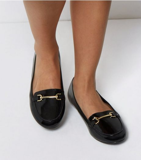 Extra Wide Fit Black Patent Metal Bar Loafers | New Look