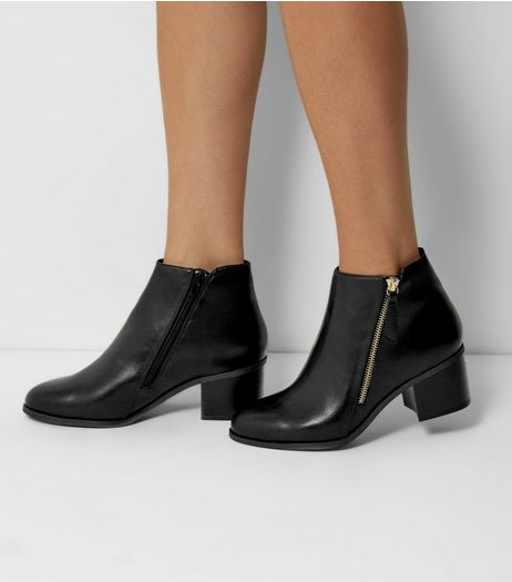 Wide Fit Black Comfort Diagonal Zip Boots | New Look