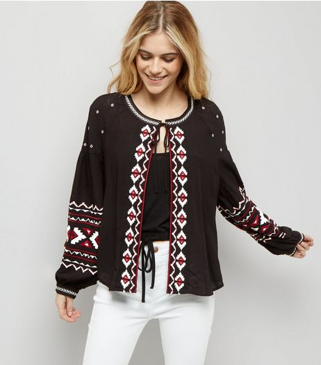 Black Embroidered Cardigan  | New Look