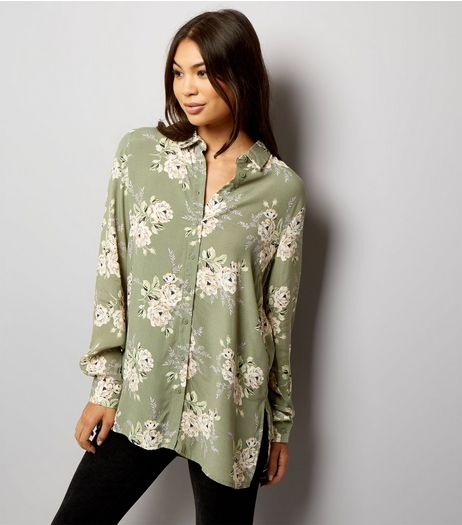 Green Floral Print Long Sleeve Shirt  | New Look