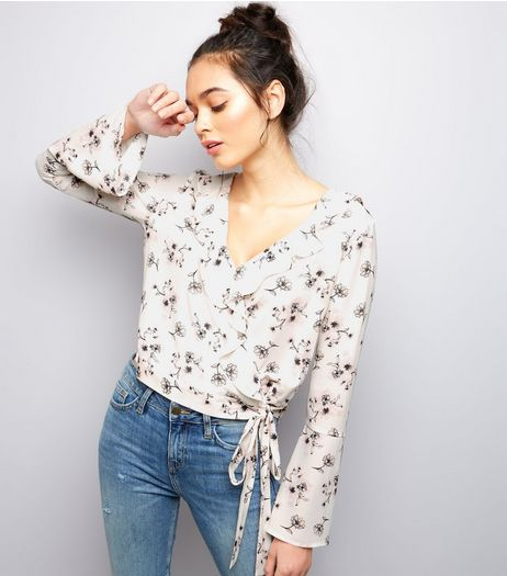 White Floral Print V Neck Wrap Front Top  | New Look