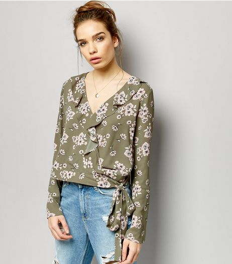 Green Floral Print V Neck Wrap Front Shirt  | New Look