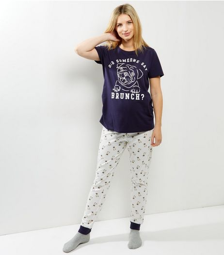 Maternity Navy Pug Slogan Pyjama Set | New Look