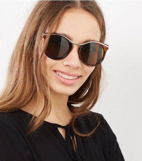 Brown Tortoiseshell Gold Trim Sunglasses | New Look