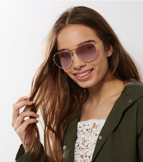 Gold Pilot Sunglasses | New Look