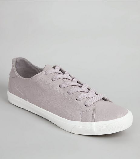 Lilac Lace Up Contrast Sole Trainers | New Look