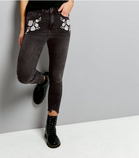 Black Fray Hem Embroidered Skinny Jeans  | New Look