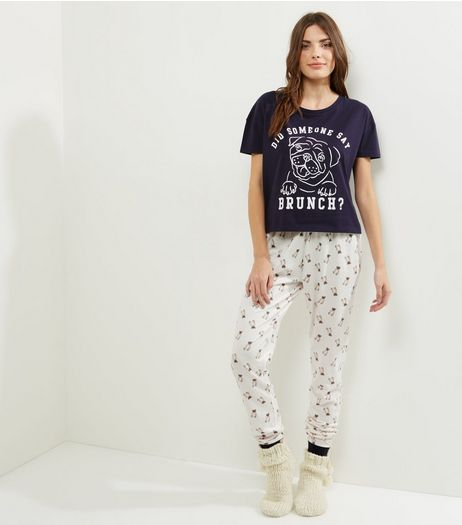 Tall Navy Pug Slogan Pyjama Set | New Look