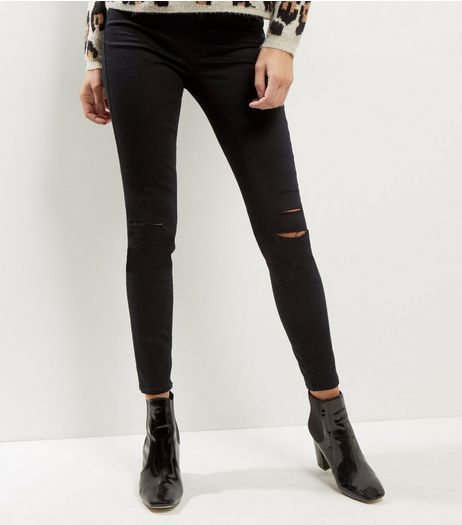 Black Ripped Knee Jeggings | New Look