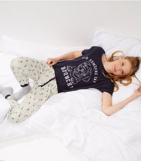 Petite Navy Pug Slogan Pyjama Set | New Look