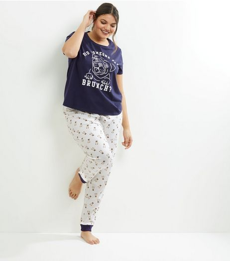 Curves Navy Pug Slogan Pyjama Set | New Look