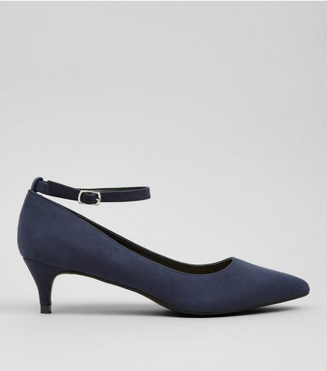 Navy Suedette Mid Heel Ankle Strap Court Shoes | New Look