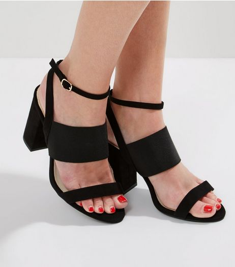 Wide Fit Black Comfort Double Strap Heeled Sandals | New Look