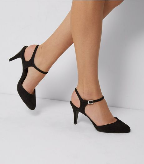 Wide Fit Suedette Ankle Strap Court Shoes | New Look