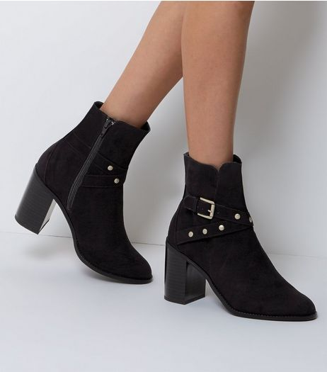 Wide Fit Black Suedette Stud Trim Heeled Ankle Boots  | New Look