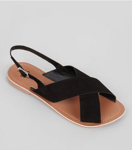 Teens Black Suede Cross Front Sandals | New Look