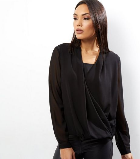 Apricot Black Chiffon Zip Side Wrap Front Blouse | New Look