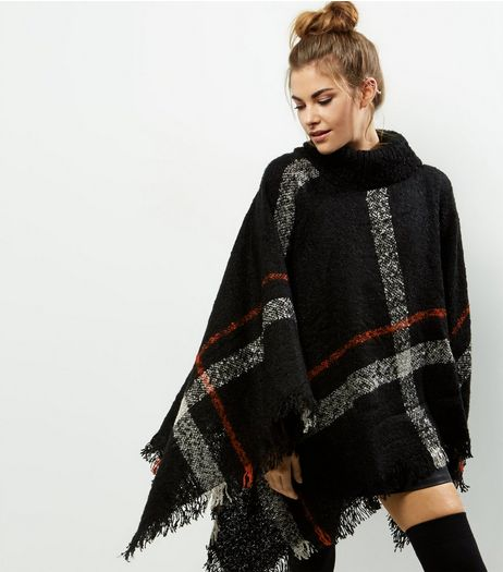 Apricot Black Check Poncho | New Look