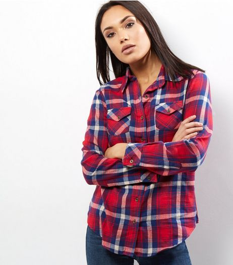 Apricot Red Check Long Sleeve Shirt | New Look