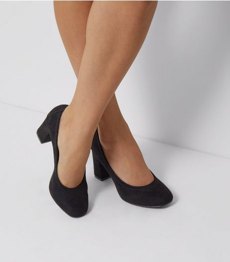 Wide Fit Black Comfort Suedette Elasticated Court Shoes | New Look