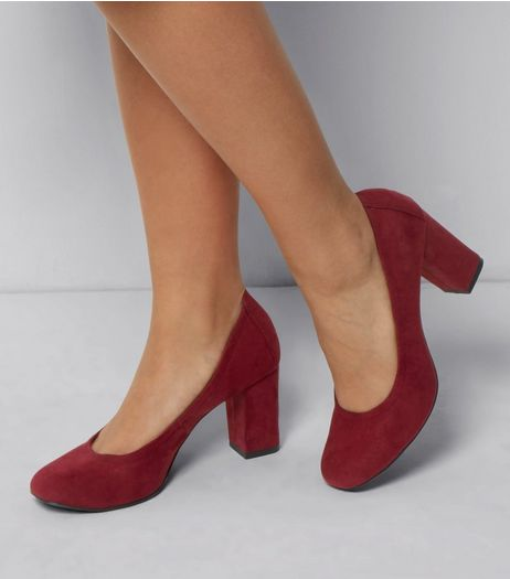 Wide Fit Red Suedette Comfort Block Heel Court Shoes | New Look