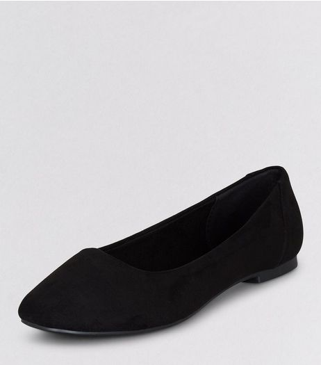 Teens Black Suedette Square Toe Shoes  | New Look