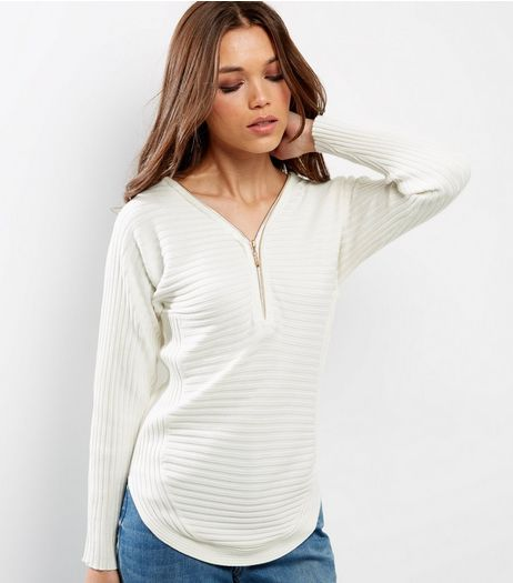 Cameo Rose Cream Ribbed Zip Front Jumper  | New Look