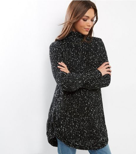Cameo Rose Black Turtle Neck Knitted Jumper  | New Look
