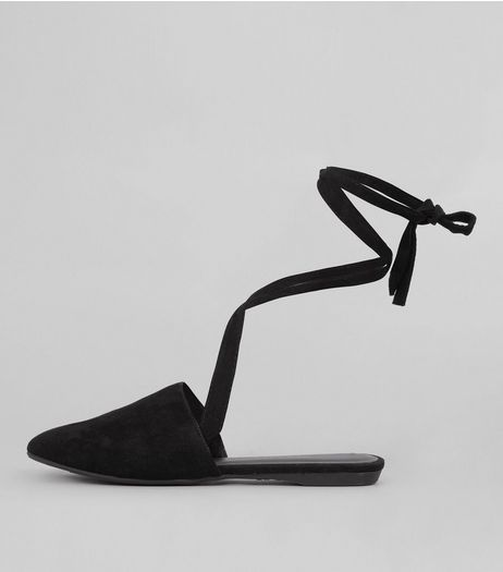 Teens Black Suedette Tie Back Mules | New Look