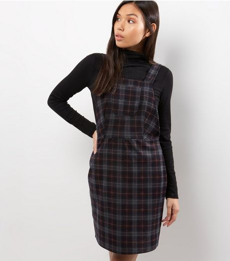 Black Check Pocket Front Pinafore Dress | New Look