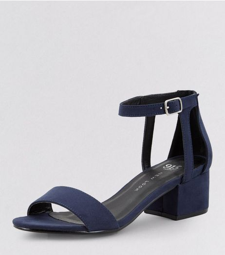 Teens Navy Suedette Ankle Strap Block Heels | New Look