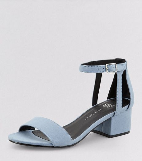 Teens Pale Blue Suedette Ankle Strap Block Heels | New Look