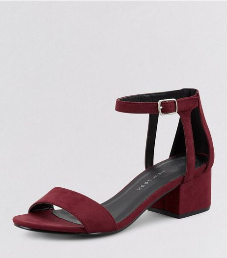 Teens Dark Red Suedette Ankle Strap Block Heels | New Look